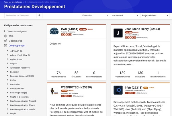 Recherche prestataires Codeur.com