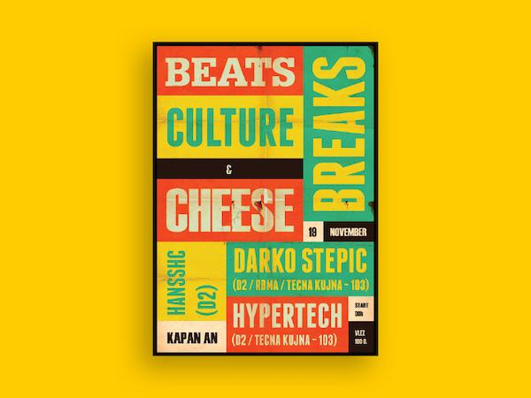 Affiche typographique couleurs