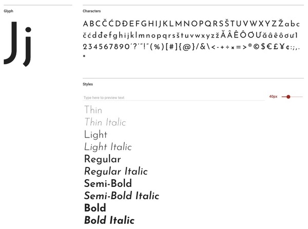 Josefin sans Typographie
