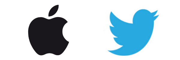 Logos Apple et Twitter