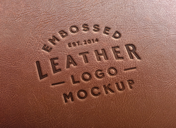 Mockup logo cuir
