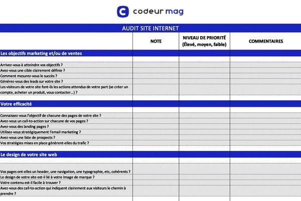 Modèle audit site web