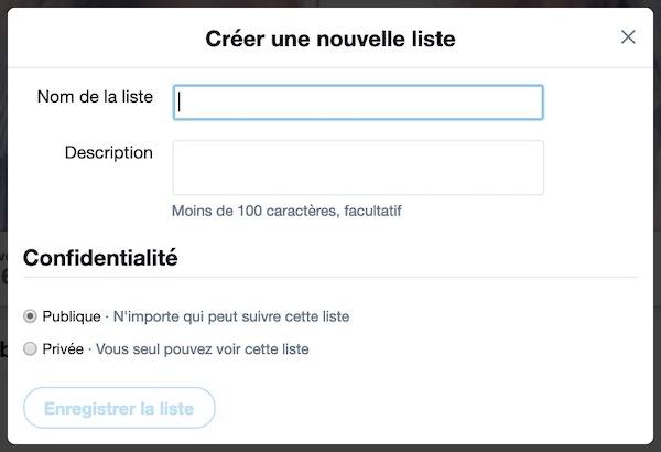Créer liste Twitter