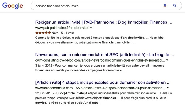 Recherche Guest blogging