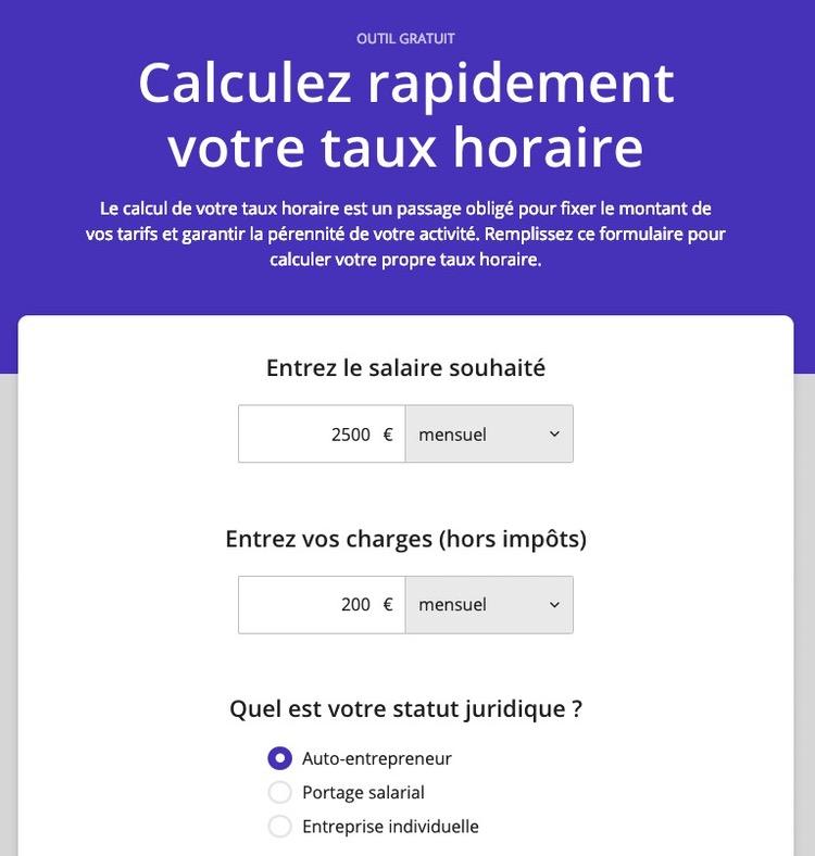 Calculateur en ligne Taux horaire