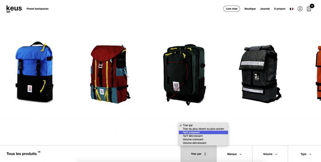 Filtres site e-commerce