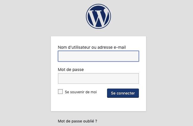 Page de connexion à WordPress