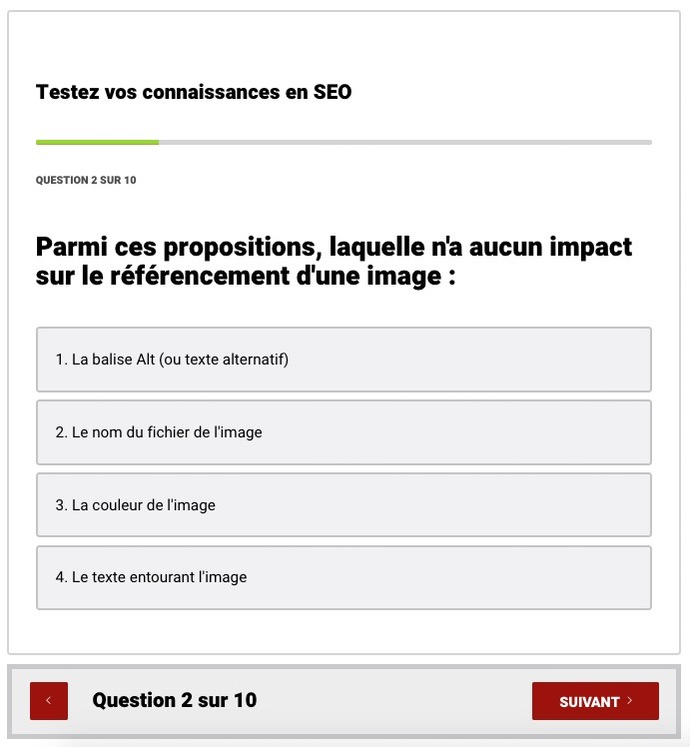 Quiz interactif