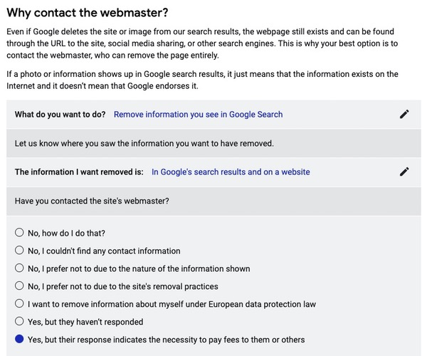 Demander suppression image à Google