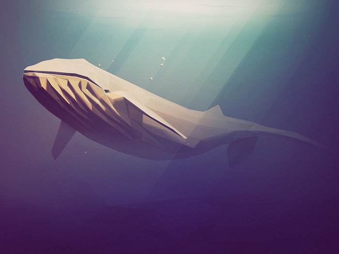 Baleine en low poly art