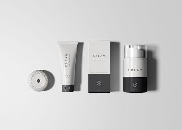 Mockup packaging de cosmétiques