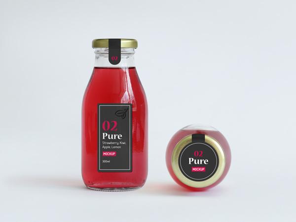 Mockup bouteille de jus de fruit