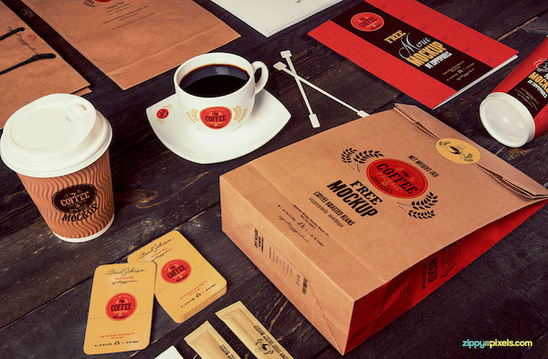 Mockup café branding