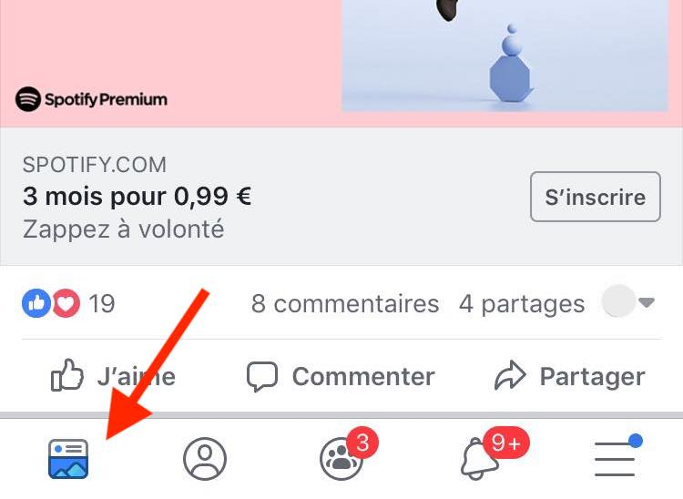 Tab bar Facebook