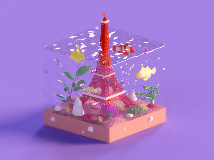 Tour Eiffel en Low Poly Art