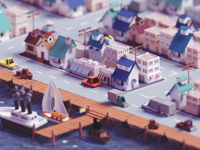 Village de pêcheur low poly art