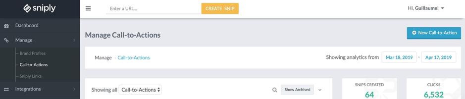 CTA configuration sur Snip.ly