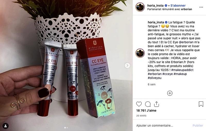 Influenceur Instagram marque Erborian