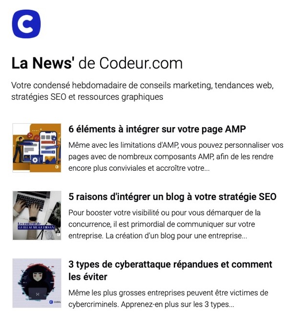 Newsletter de Codeur Mag