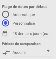 Plage de dates Google Data Studio