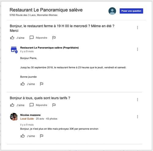Questions réponses Google my Business