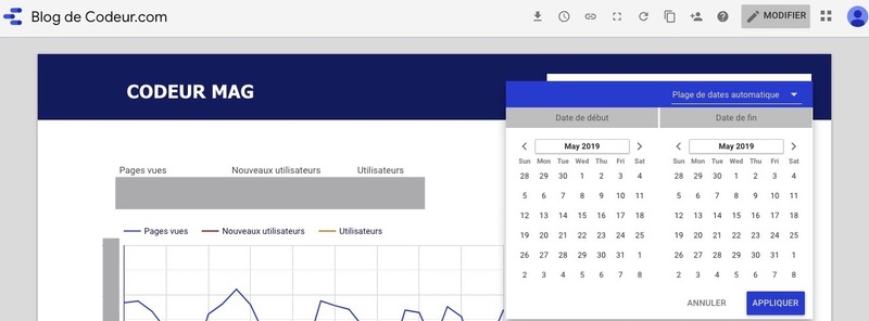 Vue d'un rapport Google Data Studio