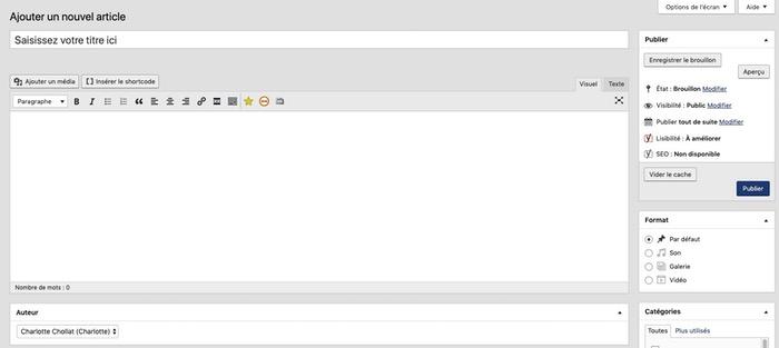 Interface d'édition WordPress