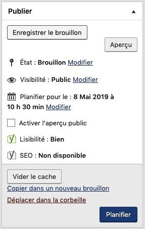 Planifier article WordPress