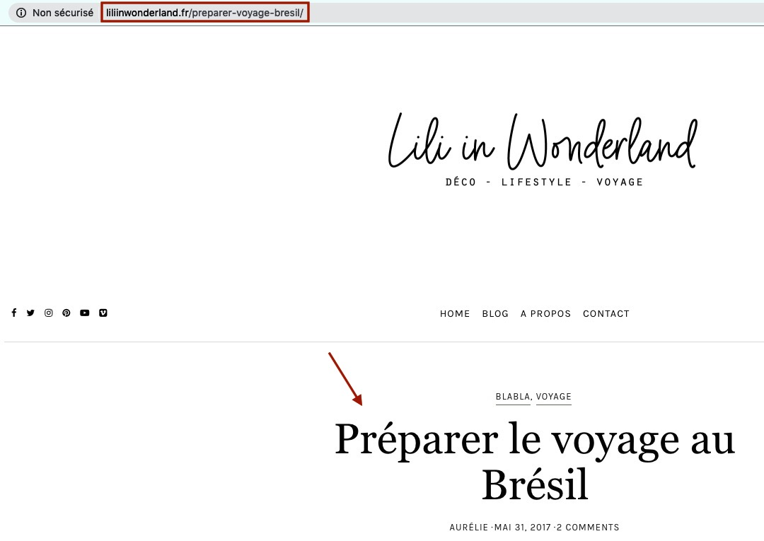 URL article de blog