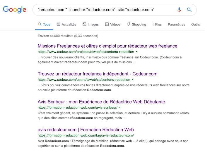 Recherche avis Google