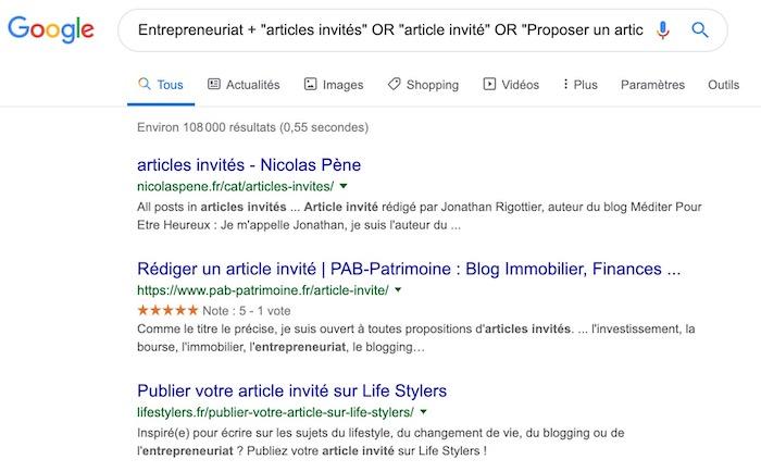Recherche article invité Google