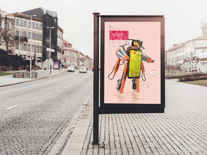 Mockup d'affiche dans la rue le jour