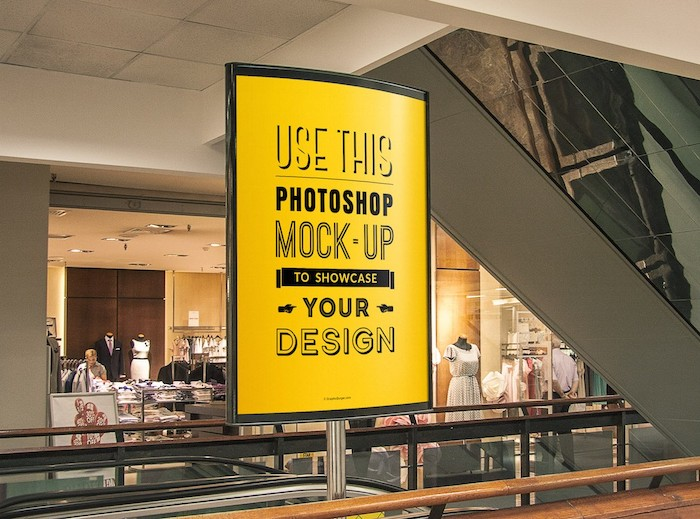 Mockup affiche centre commercial