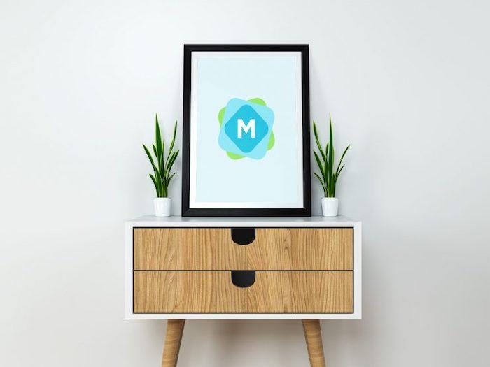 Mockup affiche sur meuble bas