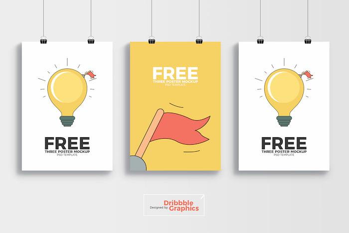 Mockup de trois affiches suspendues