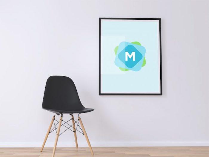 Mockup affiche sur mur blanc