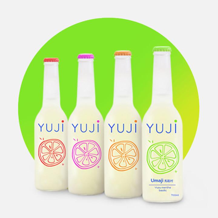 Bouteille claire Yuji, packaging épuré