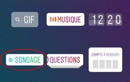 Instagram étiquette sondage