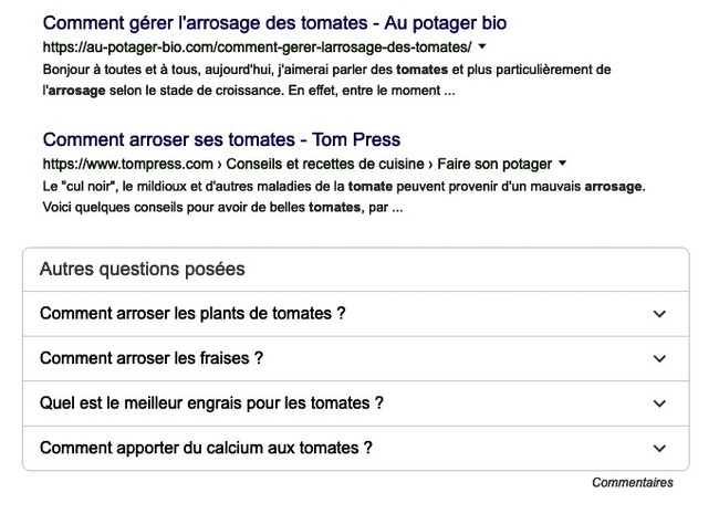 Autres questions posées Google