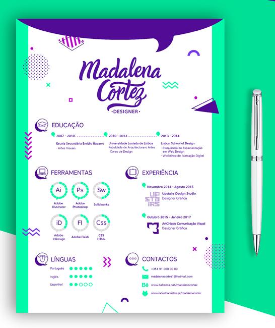 CV inspirant coloré photoshop graphiste freelance