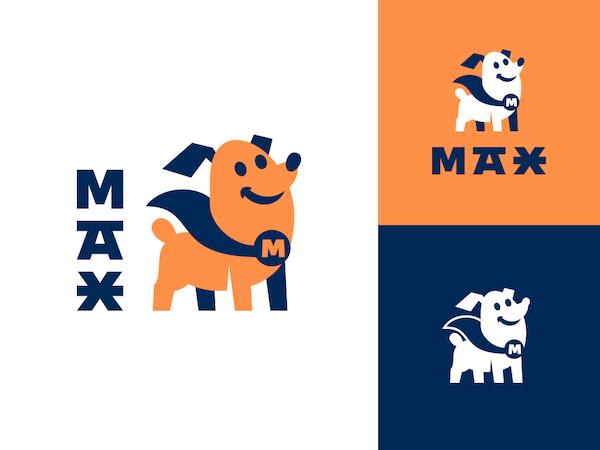 Logo mascotte chien héro