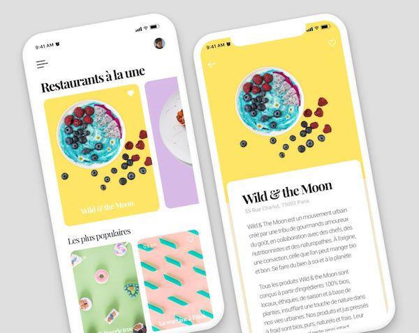 Menu minimaliste application mobile