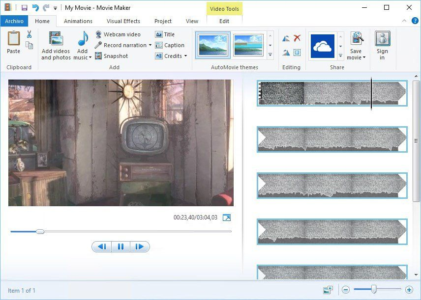 capture d'écran de la plateforme Windows Movie Maker