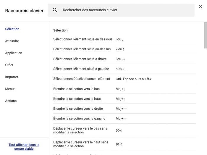 Raccourcis clavier Google Drive