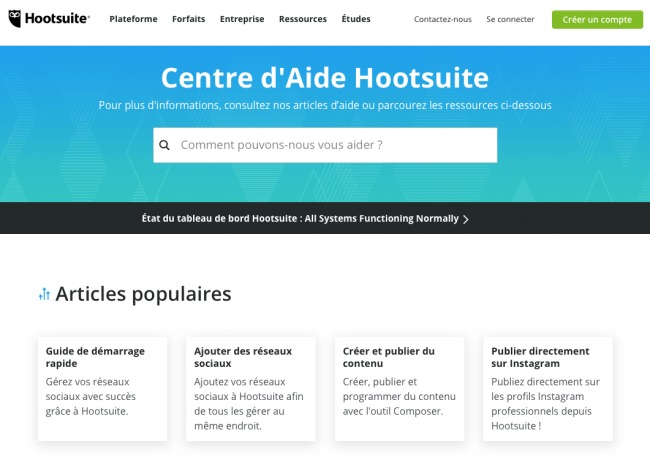 exemple page d'aide hootsuite