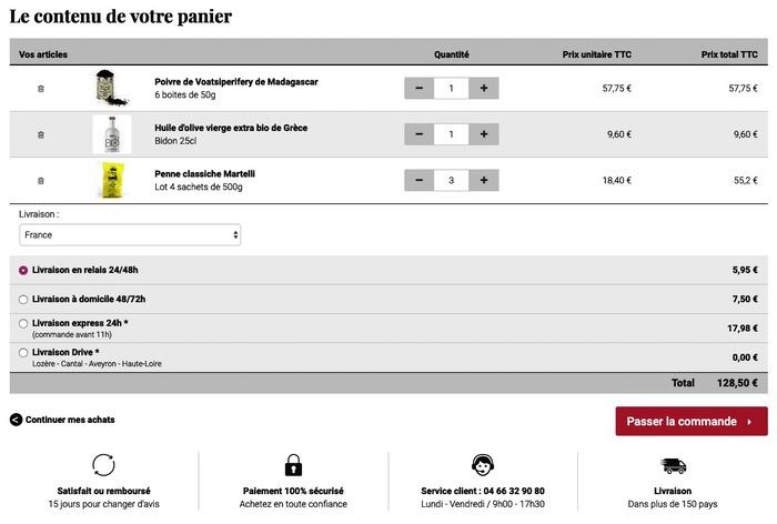 Panier site e-commerce