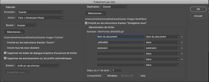 automatisation traitement par lot photoshop script