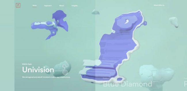exemple de glitch dans les transitions website