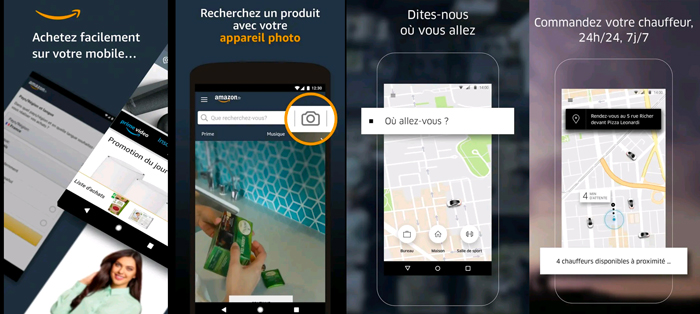 amazon über exemple de screenshot application mobile présentation graphiste blog
