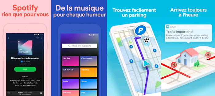 application mobile grand caractère graphiste freelance Waze Spotify